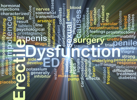 dysfunction: Background concept wordcloud illustration of erectile dysfunction ED Stock Photo