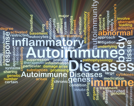 inflammatory: Background concept wordcloud illustration of autoimmune disease Stock Photo