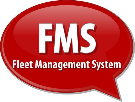 fleet: word speech bubble illustration of business acronym term FMS Fleet Management System