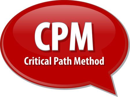 critical: word speech bubble illustration of business acronym term CPM critical path method