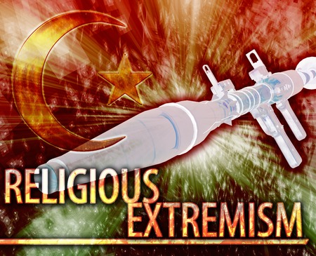 middle east fighting: Abstract background illustration of religious extremism terrorism