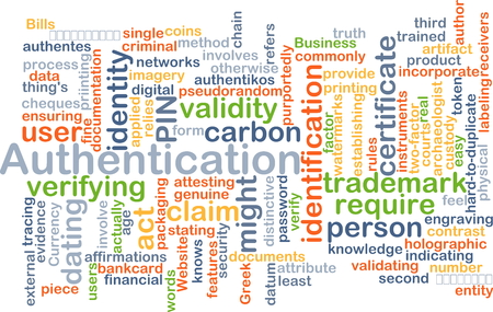 validity: Background concept wordcloud illustration of authentication Stock Photo