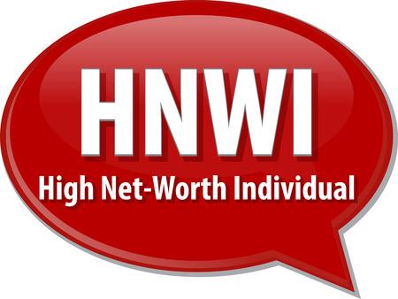 net worth: word speech bubble illustration of business acronym term HNWI High Net-Worth Individual Stock Photo