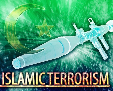 middle east fighting: Abstract background illustration of Islamic terrorism extremism