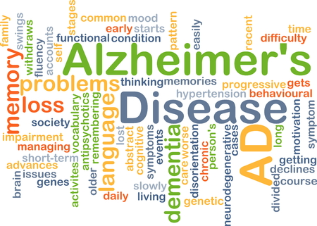 disorientation: Background concept wordcloud illustration of Alzheimer's disease