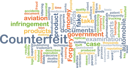 counterfeit: Background concept wordcloud illustration of counterfeit