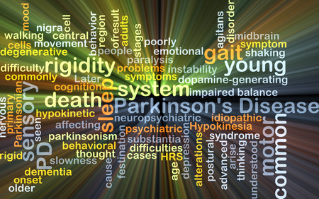 rigidity: Background concept wordcloud illustration of Parkinson%u2019s disease Stock Photo