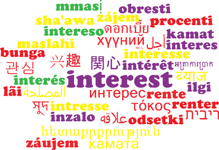 interest: Background concept wordcloud multilanguage illustration of interest