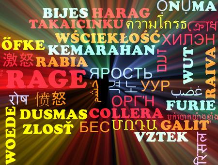 rage: Background concept wordcloud multilanguage illustration of rage