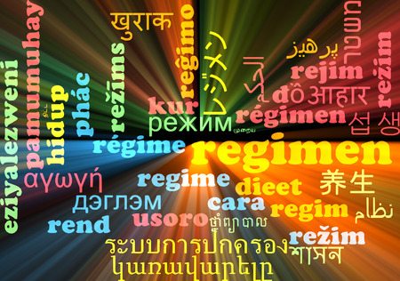 regimen: Background concept wordcloud multilanguage illustration of regimen Stock Photo