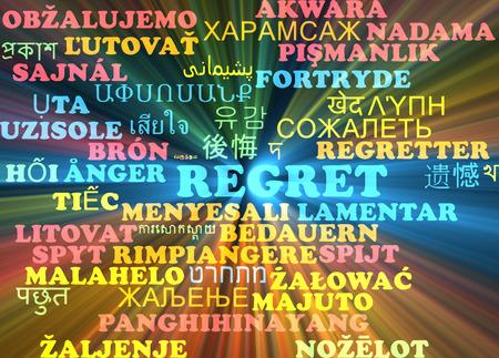 regret: Background concept wordcloud multilanguage illustration of regret Stock Photo
