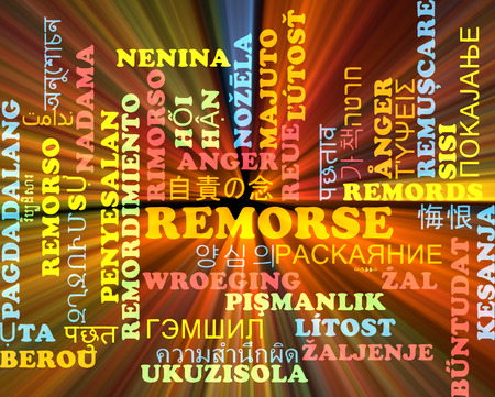 remorse: Background concept wordcloud multilanguage illustration of remorse Stock Photo