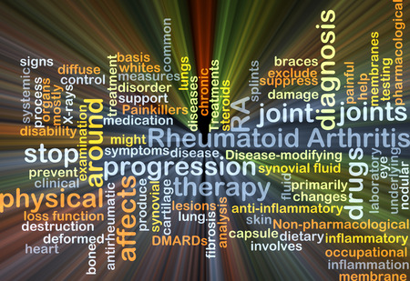 ra: Background concept wordcloud illustration of rheumatoid arthritis RA Stock Photo