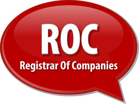 registrar: word speech bubble illustration of business acronym term ROC Registrar Of Companies Stock Photo