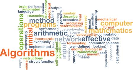 algorithms: Background concept wordcloud illustration of algorithms