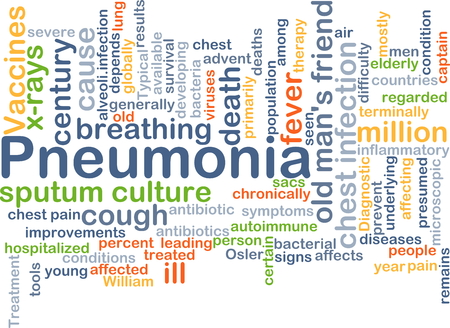 chest pain: Background concept wordcloud illustration of pneumonia Stock Photo