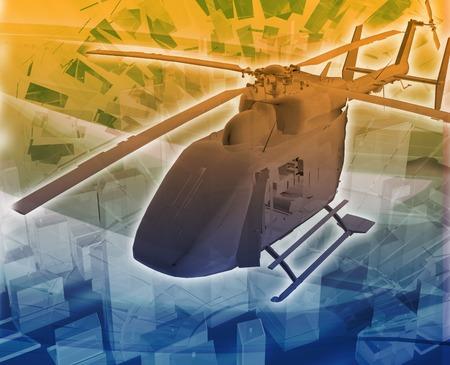 evacuation: Abstract background illustration helicopter evac evacuation Stock Photo