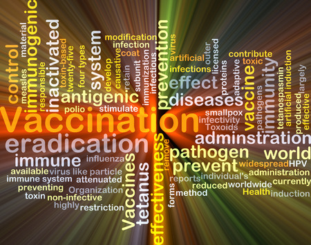 antigenic: Background concept wordcloud illustration of vaccination glowing light