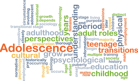 adolescence: Background concept wordcloud illustration of adolescence Stock Photo