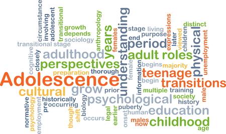 adolescencia: Concepto de fondo wordcloud ilustraci�n de la adolescencia Foto de archivo
