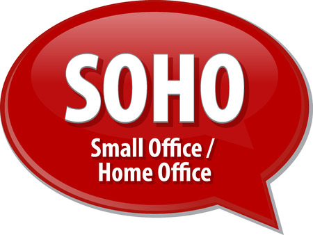 soho: word speech bubble illustration of business acronym term SOHO Small Office Home Office