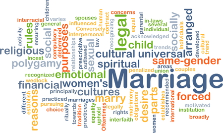 Background concept wordcloud illustration of marriage