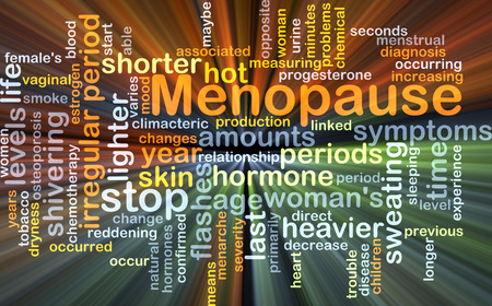 Background concept wordcloud illustration of menopause glowing light
