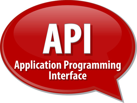api: speech bubble illustration of information technology acronym abbreviation term definition API Application Programming Interface