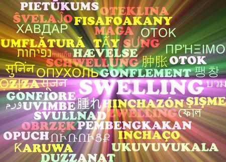 şişme: Arka plan kavramı şişme parlayan ışık çok dilli uluslararası birçok dil illüstrasyon wordcloud