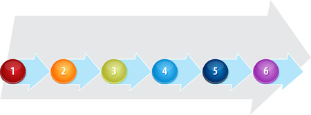 sequential: blank business strategy concept infographic diagram illustration of organizational process steps six 6