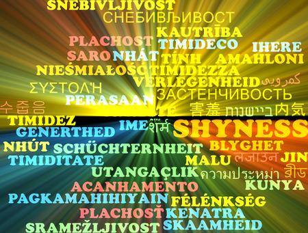 shyness: Background concept wordcloud multilanguage international many language illustration of shyness glowing light