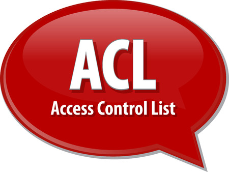 permissions: speech bubble illustration of information technology acronym abbreviation term definition ACL Access Control List Stock Photo