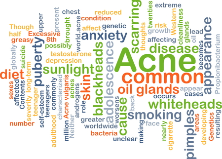 scarring: Background concept wordcloud illustration of acne