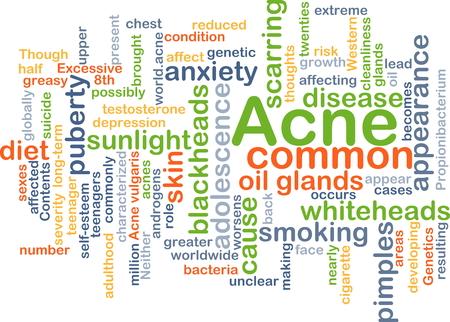 scarring: Sfondo concetto illustrazione wordcloud di acne Archivio Fotografico