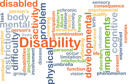developmental disorder: Background concept wordcloud illustration of disability