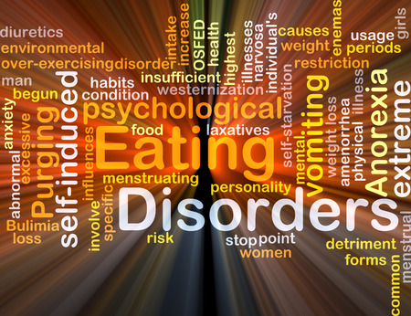 disorders: Background concept wordcloud illustration of eating disorders glowing light
