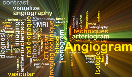 isotope: Background concept wordcloud illustration of angiogram glowing light Stock Photo