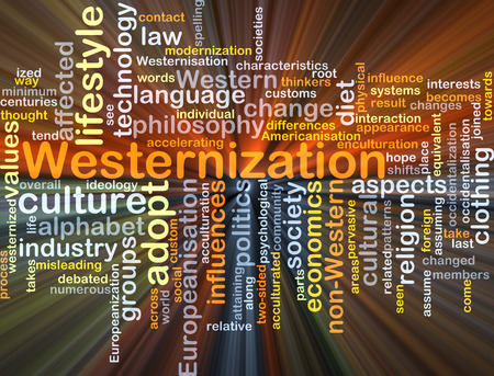 attaining: Background concept wordcloud illustration of westernization glowing light