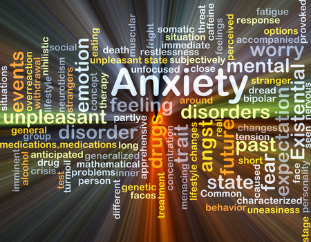 anxiety: Background concept wordcloud illustration of anxiety glowing light Stock Photo