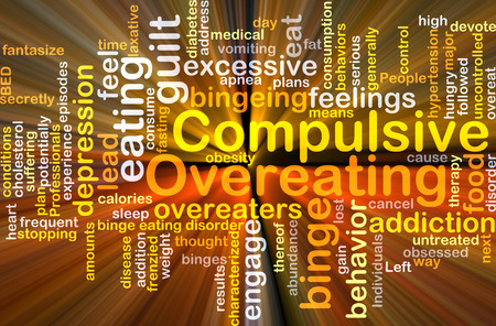 overeating: Background concept wordcloud illustration of compulsive overeating glowing light Stock Photo
