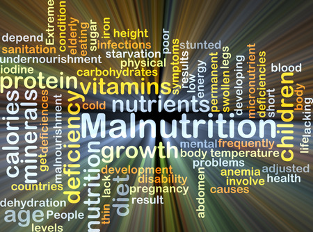 deficiencies: Background concept wordcloud illustration of malnutrition glowing light