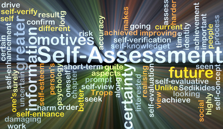 oneself: Background concept wordcloud illustration of self-assessment glowing light