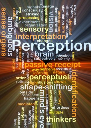 percepción: Concepto de fondo wordcloud ilustración de la luz resplandeciente percepción