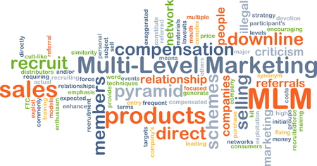 referrals: Background concept wordcloud illustration of multi-level marketing MLM