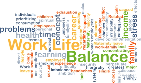 maternity leave: Background concept wordcloud illustration of work-life balance Stock Photo