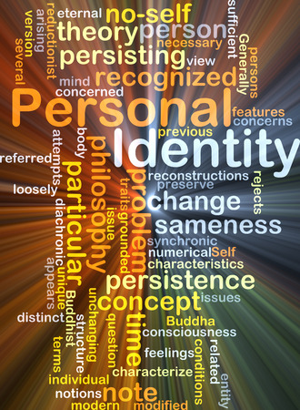 characterize: Background concept wordcloud illustration of personal identity glowing light