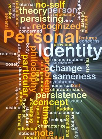 personal identity: Ilustraci�n de fondo wordcloud concepto de la luz resplandeciente de identidad personal Foto de archivo