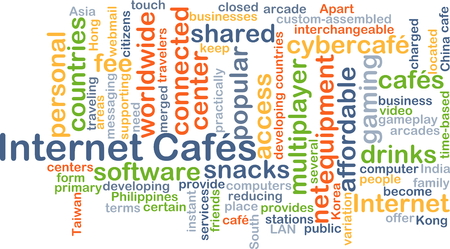 computer centers: Background concept wordcloud illustration of internet cafes