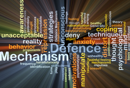 coping: Background concept wordcloud illustration of defence mechanism glowing light