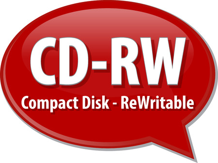 rewritable: Speech bubble illustration of information technology acronym abbreviation term definition CD-RW Compact Disk Rewritable